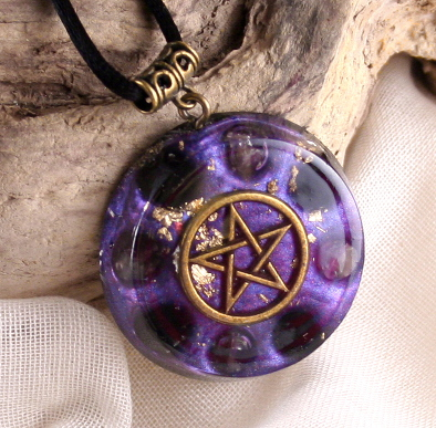 wiccan jewelry - orgonite pentacle necklace pendant