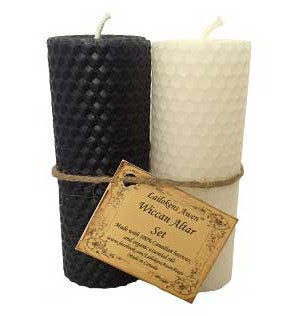 black white candle altar set- magick tools